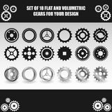 Vector flat and volumetric gear set for your design Royalty Free Stock Photo