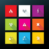 Vector flat warning icon set Stock Image