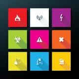 Vector flat warning icon set Stock Image
