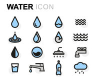 Vector flat water icons set. On white background Stock Photos