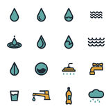 Vector flat water icons set. On white background Royalty Free Stock Photography
