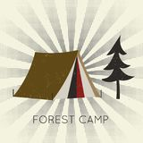 Vector flat web banner forest camp. Stock Photography