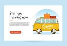 Vector flat web banner with a retro travel van with bag on roof. Road trip, adventure, trailering, camping, adventures, vacation. vector illustration