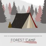 Vector flat web banner on the theme of forest camp. Royalty Free Stock Photography