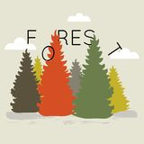 Vector flat web banner on the theme forest. Stock Photography