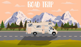 Vector flat web banner on the theme of Road trip,. Web banner on the theme of Road trip, Adventure, Trailering, Camping, outdoor recreation, adventures in nature Stock Images