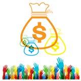 Vector Flat web icon hand Money bag set on white background Stock Photo