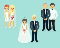 Vector flat wedding characters icons set Stock Photography