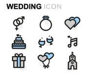 Vector flat wedding icons set Royalty Free Stock Photos
