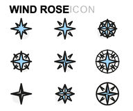 Vector flat wind rose icons set Stock Photo