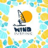 Vector flat wind surfing logo illustration. Stock Image