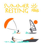 Vector flat wind surfing, water skiing logo illustration. Royalty Free Stock Images