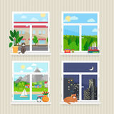 Vector flat windows with landscape Royalty Free Stock Image