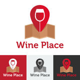 Vector flat wine shop or bar logo set Royalty Free Stock Photo
