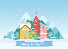 Vector Flat winter Christmas cityscape near mountains. Urban town landscape with falling snow and city with cute houses Royalty Free Stock Image