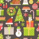 Vector flat winter holiday seamless pattern. Christmas symbols,. Decoration and treat. Stylish illustration. Decor Royalty Free Stock Photo