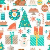 Vector flat winter holiday seamless pattern. Christmas symbols,. Decoration and treat. Stylish illustration. Decor Royalty Free Stock Photos