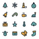 Vector flat winter icons set Royalty Free Stock Photo