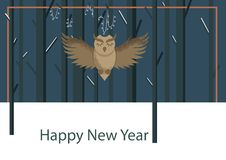 Winter postcard with owl in flat style stock illustration