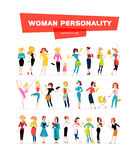 Vector flat woman portraits collection isolated on white background. Royalty Free Stock Images