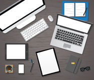 Vector flat workplace of designer with devices illustration Stock Images
