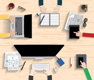 Vector flat workplace of designer with devices illustration Royalty Free Stock Image