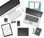 Vector flat workplace of designer with devices illustration Royalty Free Stock Photography