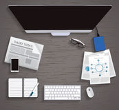 Vector flat workplace of designer with devices illustration Stock Photos