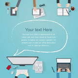 Vector flat workplace of designer with devices illustration Stock Image