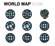Vector flat world map icons set Royalty Free Stock Image