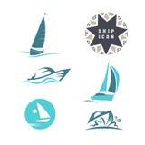 Vector flat yacht club, regatta icon set. Royalty Free Stock Photos