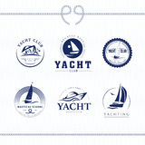 Vector flat yacht club, regatta logo design set. Stock Images