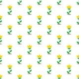 Vector flat yellow flowers seamless pattern. Vector simple flat yellow flowers seamless pattern Stock Photo