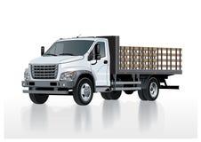 Vector flatbed vrachtwagenmalplaatje dat op wit wordt geïsoleerd Stock Afbeelding