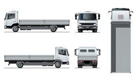 Vector flatbed vrachtwagenmalplaatje dat op wit wordt geïsoleerd stock illustratie