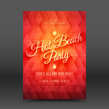 Vector Flayer Design Template Hot Beach Party. Vector flayer design template with calligraphic text Hot Beach Party vector illustration