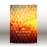 Vector Flayer Design Template Hot Beach Party. Vector flyer design template with calligraphic text Hot Beach Party Royalty Free Stock Photography
