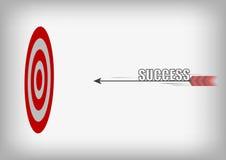 Vector: Flecha con la blanco del éxito y del tiro al arco en backgroun gris Imágenes de archivo libres de regalías