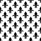 Vector fleur de lis seamless pattern in black and white stock illustration