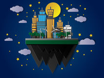 Vector floating buildings at night with the moon and stars Royalty Free Stock Photo
