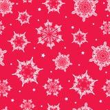 Vector flocos de neve tirados dos christmass do feriado mão vermelha vibrante Fotografia de Stock