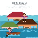 Vector of Flood Disaster. Where people stuck on the roof  of his house Royalty Free Stock Photos