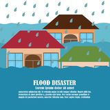 Vector of Flood Disaster. Where people stuck on the roof  of his house Stock Images