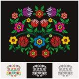 Vector floral étnico mexicano con diseño precioso y adorable stock de ilustración