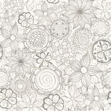 Vector floral abstract hand-drawn background with flowers and grunge effects. Stock Photos
