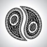 Vector floral abstracto de Yin Yang Symbol Fotos de archivo