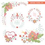 Vector  floral  arrangement. Cute vintage set Royalty Free Stock Image