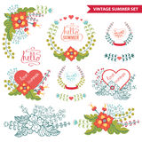 Vector  floral  arrangement.Cute Vintage summer set Royalty Free Stock Photography