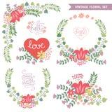Vector  floral arrangement.Doodl Vintage summer set Stock Photo