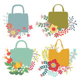 Vector  floral  arrangement with handbags.Cute Vintage set Royalty Free Stock Photography